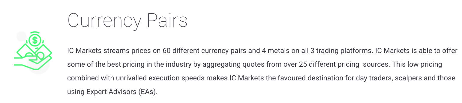 IC Markets Currency Pairs