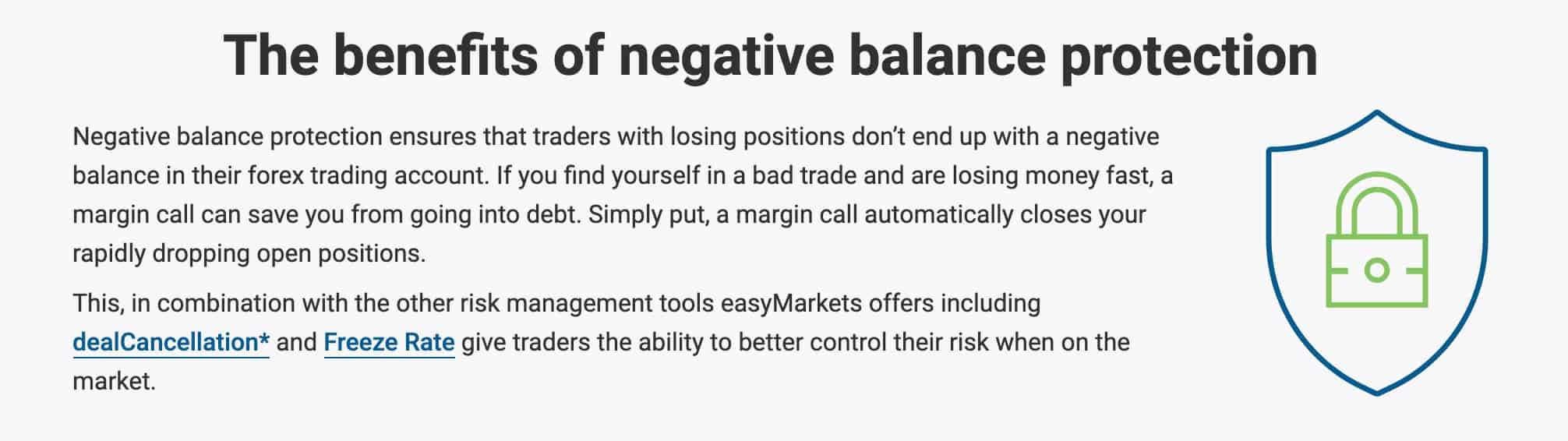 EasyMarkets Negative Balance Protection